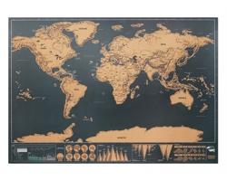 Stírací mapa světa CHIRR, 42x30cm - béžová