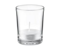 Skleněný svícen SALOL s vonnou čajovou svíčkou - bílá