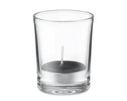 Skleněný svícen SALOL s vonnou čajovou svíčkou - černá