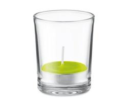 Skleněný svícen SALOL s vonnou čajovou svíčkou - limetková