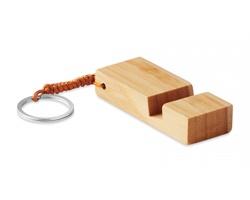 Bambusový přívěsek PHOSE s funkcí stojánku na telefon - hnědá (dřevo)