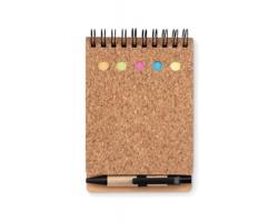 Korkový linkovaný zápisník DEBTS s barevnými lepítky - černá