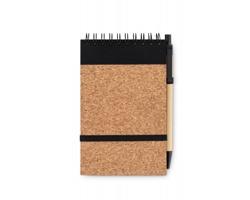 Korkový linkovaný zápisník AULA s papírovou propiskou, A6 - černá