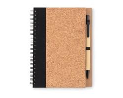 Korkový zápisník s kuličkovým perem DAILY - černá