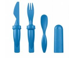 Plastový cestovní příbor LOFTY s bambusem, 3v1 - královská modrá
