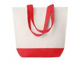 Plátěná plážová taška ARMFUL s barevným dnem a držadly - červená