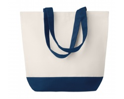 Plátěná plážová taška ARMFUL s barevným dnem a držadly - modrá