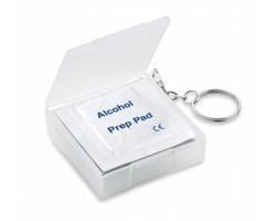 Vlhčené čisticí ubrousky DRAPE v obalu s kroužkem na klíče - transparentní bílá