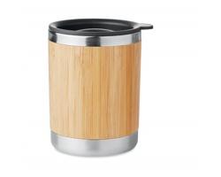 Cestovní hrnek CURER s povrchem z bambusu - dřevěná