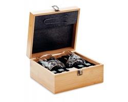 Dárkový set příslušenství k whisky CUBED v bambusové krabici - hnědá (dřevo)