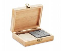 Sada ledových kamenů HARE v dárkové bambusové krabičce - hnědá (dřevo)