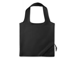 Polyesterová skládací nákupní taška SLAW se stahovacím pouzdrem - černá