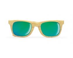 Zrcadlové sluneční brýle FALL s dekorem dřeva - hnědá (dřevo)
