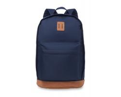 Polyesterový batoh DOOMY s koženými detaily - modrá