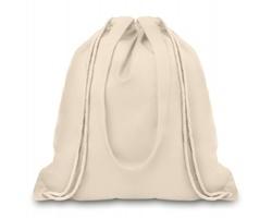 Plátěná nákupní taška / batoh CAKEY s dlouhými uchy a stahovací šňůrkou - béžová