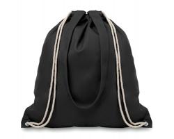 Plátěná nákupní taška / batoh OILS s popruhy a stahovací šňůrkou - černá