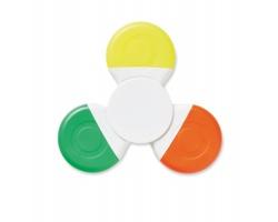 Plastový barevný antistresový spinner HUMIC, se 3 zvýrazňovači - bílá