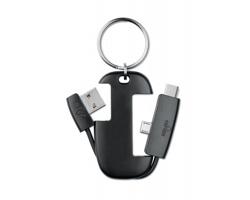 Plastový přívěsek na klíče CORTLAND s integrovaným USB kabelem typu C - černá