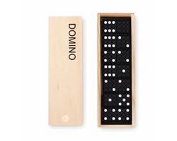 Plastová hra domino SCARF v dřevěné krabičce - hnědá (dřevo)