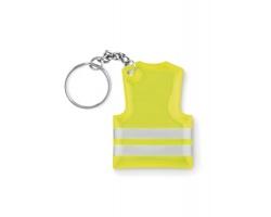 Reflexní přívěsek na klíče COWL tvaru mini reflexní vesty - neonová žlutá