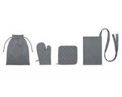 Bavlněný kuchařský set GIBES, 4 komponenty - šedá