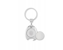Kovový přívěsek na klíče DEIFY s žetonem do nákupního vozíku a otvírákem lahví - ocelově stříbrná/šedá