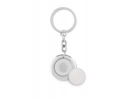 Kovový přívěsek na klíče RUNS s žetonem do nákupního vozíku - lesklá stříbrná