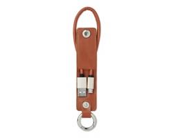 Přívěsek na klíče z umělé kůže SECT s micro USB kabelem - hnědá
