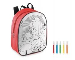 Polyesterový omalovánkový batoh SAME  s 5 fixy - červená