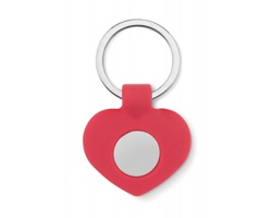 Silikonový přívěsek na klíče EMOTE s žetonem do nákupního vozíku - červená