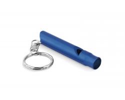 Hliníková píšťalka MOVINGLY s kroužkem na klíče - modrá