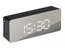 Zrcadlové hodiny s LED displejem CIRCLER s nočním světlem - černá