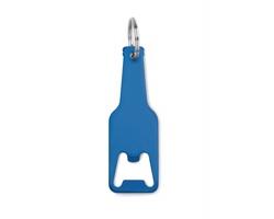 Hliníkový přívěsek na klíče otvírák DUNLAP ve tvaru láhve - modrá