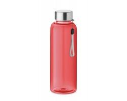 Tritanová transparentní láhev na pití PEWTER s poutkem, 500 ml - transparentní červená