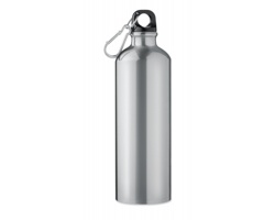 Hliníková láhev TOOK s karabinou, 750 ml - matně stříbrná