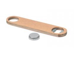 Nerezový otvírák MOONS s dřevěným dekorem - hnědá (dřevo)