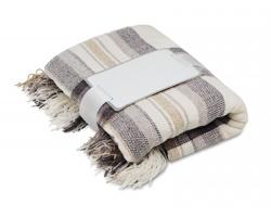 Polyesterová deka s třásněmi DIEM v dárkovém balení - béžová
