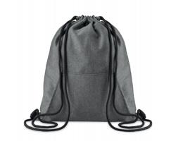 Fleecový batoh se stahovací šňůrkou RAYED a klokaní kapsou - černá