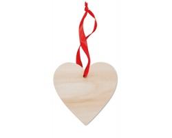 Dřevěná vánoční ozdoba CLAN ve tvaru srdce - hnědá (dřevo)