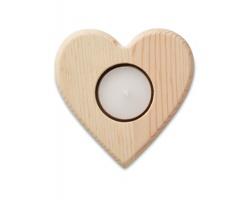 Dřevěný svícen na čajovou svíčku SCABS tvaru srdce - hnědá (dřevo)