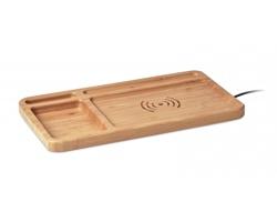 Bambusová bezdrátová nabíječka PARE s organizérem kancelářských potřeb - hnědá (dřevo)