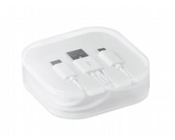 Nabíjecí kabel RATON se 2 konektory v plastové krabičce - bílá