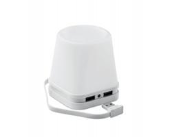 Plastový USB stojánek pro chytrý telefon a psací potřeby FLAN s LED světlem - bílá