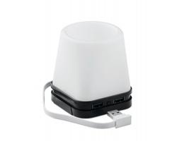 Plastový USB stojánek pro chytrý telefon a psací potřeby FLAN s LED světlem - černá