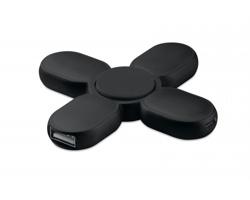 Plastový spinner SKEWNESS se 3 USB huby - černá