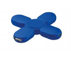 Plastový spinner SKEWNESS se 3 USB huby - královská modrá