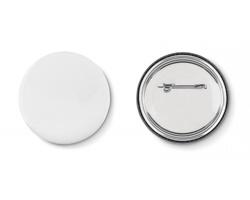 Kovový button ACUSTICA s vloženým papírkem - matně stříbrná