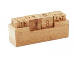 Bambusový stolní kalendář SWEDENI s nekonečným kalendáriem - hnědá (dřevo)