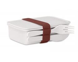 Bambusovo plastová krabička na obědy NETAL s příborem - bílá