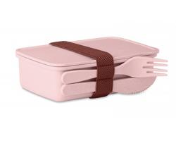 Bambusovo plastová krabička na obědy NETAL s příborem - růžová